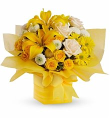 Roses: Sunshine Surprise Present Bouquet
