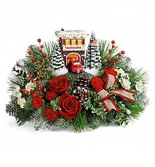 Flower Bouquets: Thomas Kincade's Festive Fire Station Bouquet